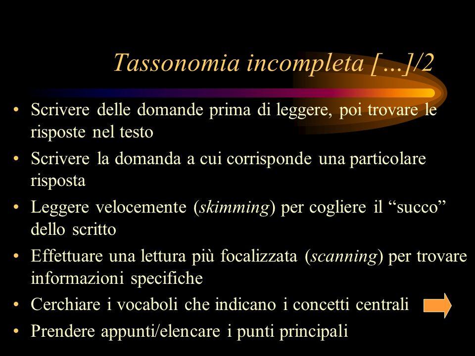 Tassonomia incompleta […]/2